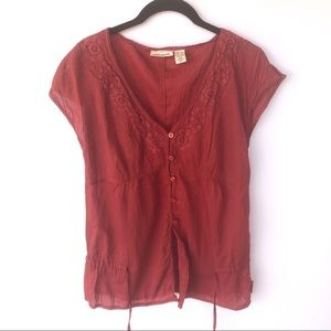 DKNY Red Beaded Embroidered Tie Blouse